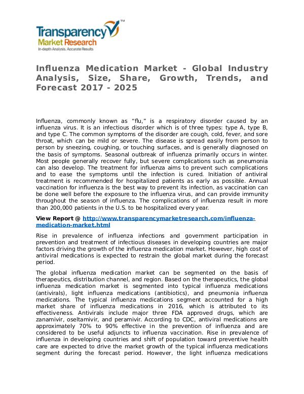 Influenza Medication Market Research Report and Forecast up to 2025 Influenza Medication Market - Global Industry Anal