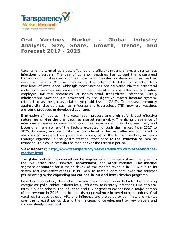 Oral Vaccines Market Research Report and Forecast up to 2025 Oral Vaccines Market - Global Industry Analysis, S