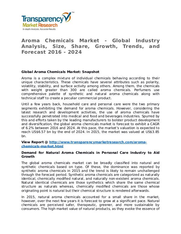 Aroma Chemicals Market Research Report and Forecast up to 2024 Aroma Chemicals Market - Global Industry Analysis,