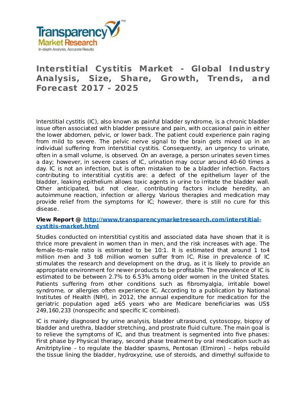 Interstitial Cystitis Market Research Report and Forecast up to 2025 Interstitial Cystitis Market - Global Industry Ana