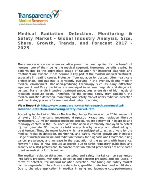 Medical Radiation Detection, Monitoring & Safety Market Medical Radiation Detection, Monitoring & Safety M