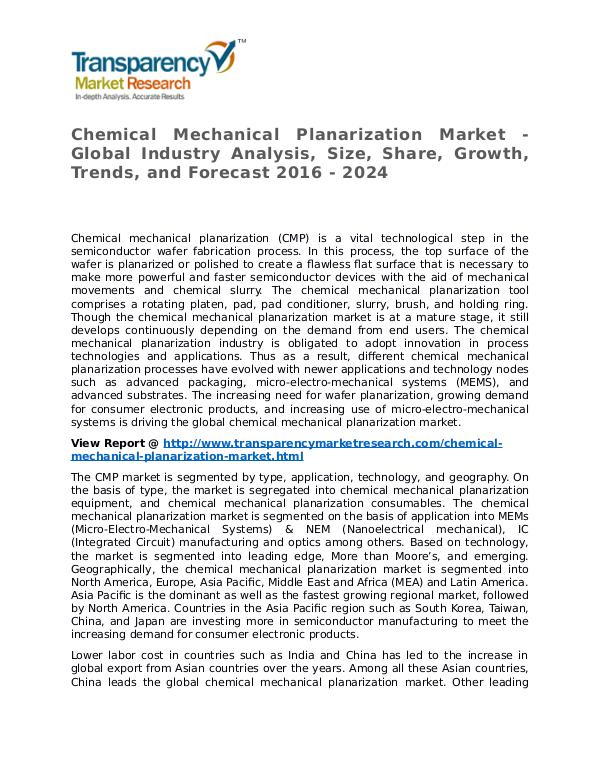 Chemical Mechanical Planarization Market Research Report and Forecast Chemical Mechanical Planarization Market - Global