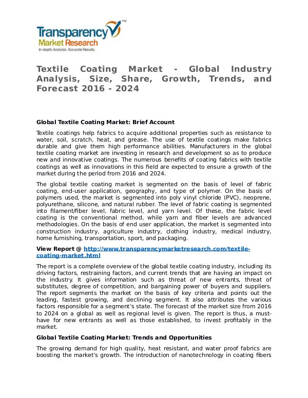 Textile Coating Market Research Report and Forecast up to 2024 Textile Coating Market - Global Industry Analysis,
