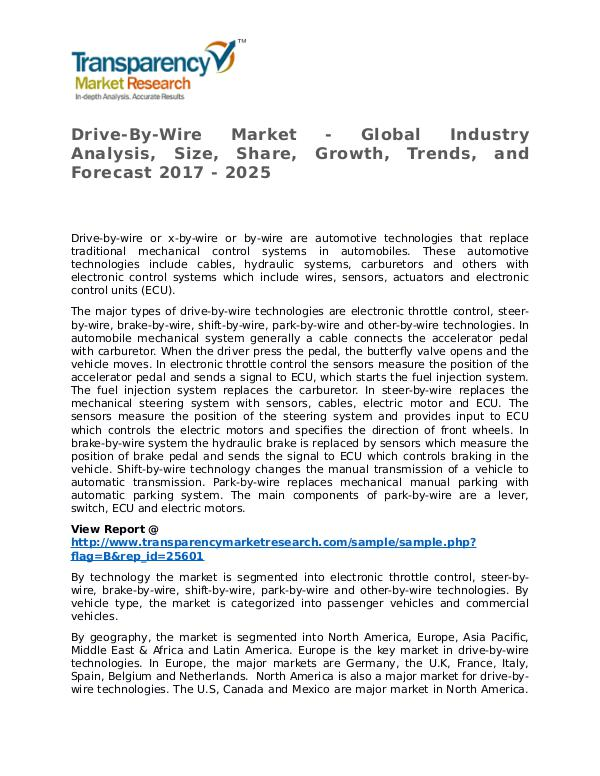 Drive-By-Wire Market Research Report and Forecast up to 2025 Drive-By-Wire Market - Global Industry Analysis, S