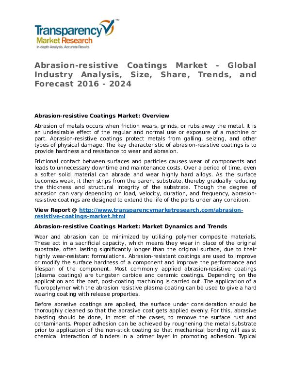 Abrasion-resistive Coatings Market Research Report and Forecast Abrasion-resistive Coatings Market