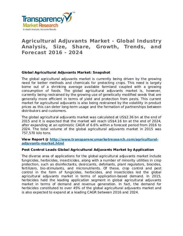Agricultural Adjuvants Market Research Report and Forecast up to 2024 Agricultural Adjuvants Market Growth, Trends, and
