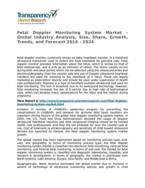 Fetal Doppler Monitoring System Market Research Report and Forecast Fetal Doppler Monitoring System Market