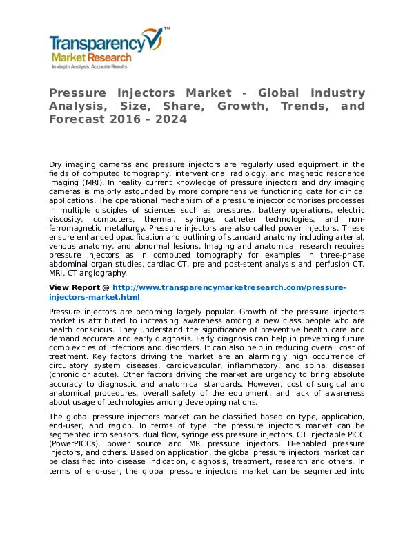 Pressure Injectors Market Research Report and Forecast up to 2024 Pressure Injectors Market