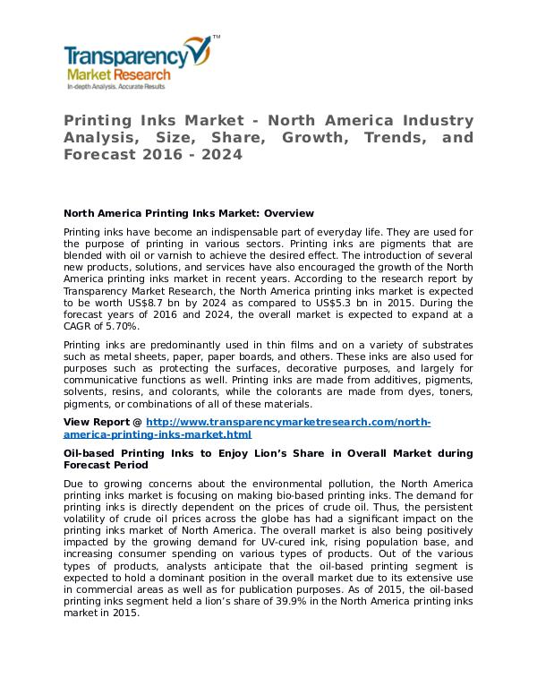Printing Inks Market Research Report and Forecast up to 2024 Printing Inks Market