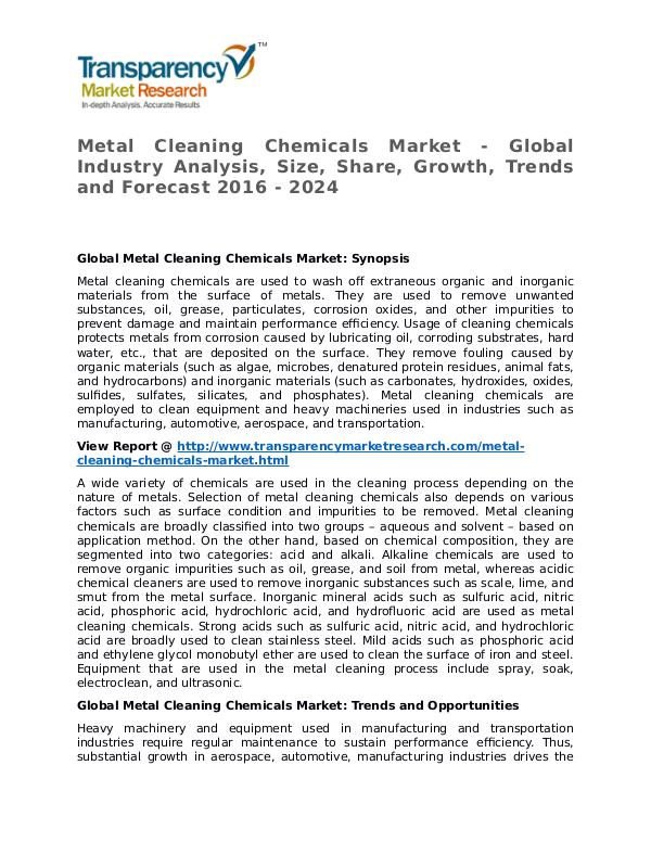 Metal Cleaning Chemicals Market Research Report and Forecast Metal Cleaning Chemicals Market