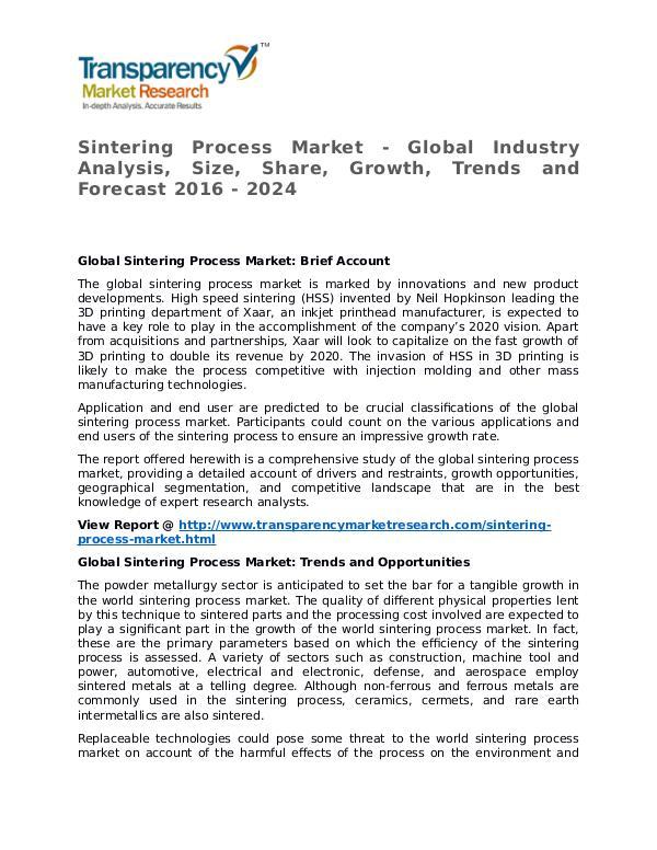 Sintering Process Market 2016 Share, Trend, Segmentation and Forecast Sintering Process Market