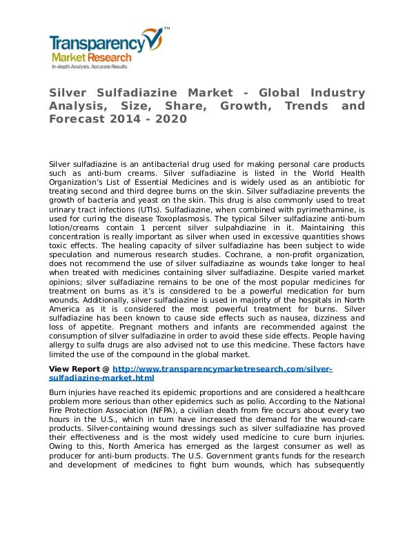 Silver Sulfadiazine Market 2014 Share, Trend and Forecast Silver Sulfadiazine Market