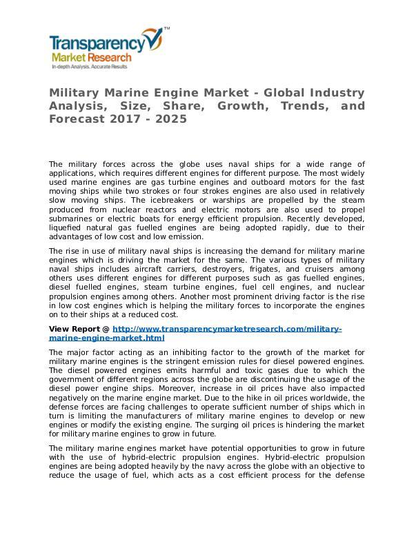 Military Marine Engine Market 2017 Share, Trend and Forecast Military Marine Engine Market