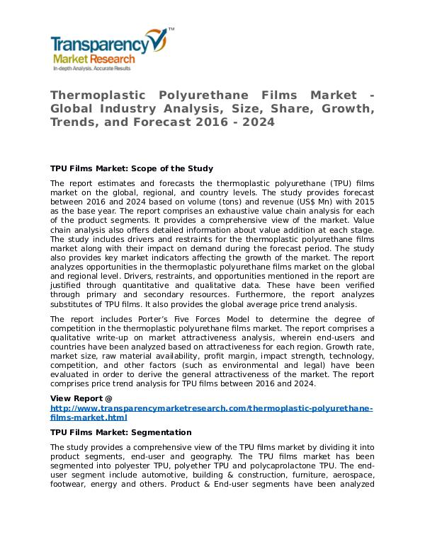Thermoplastic Polyurethane Films Market 2016 Share and Forecast Thermoplastic Polyurethane Films Market