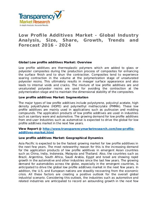 Low Profile Additives Market 2016 Share, Trend and Foreacast Low Profile Additives Market