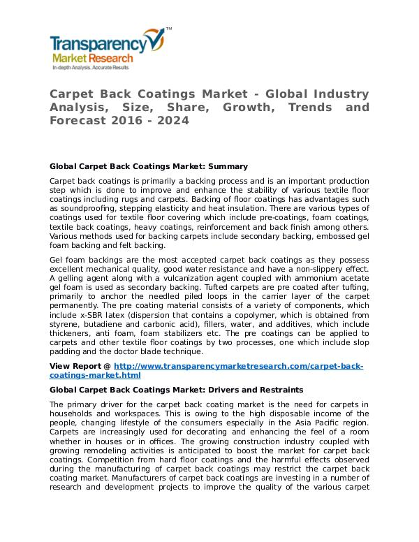 Carpet Back Coatings Market 2016 Share,Trend and Forecast Carpet Back Coatings Market