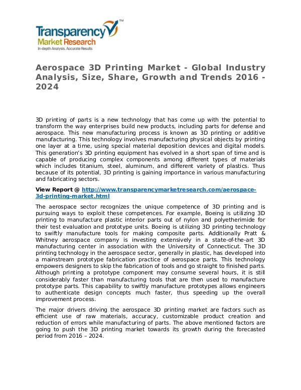 Aerospace 3D Printing Market 2016 Share, Trend and Forecast Aerospace 3D Printing Market