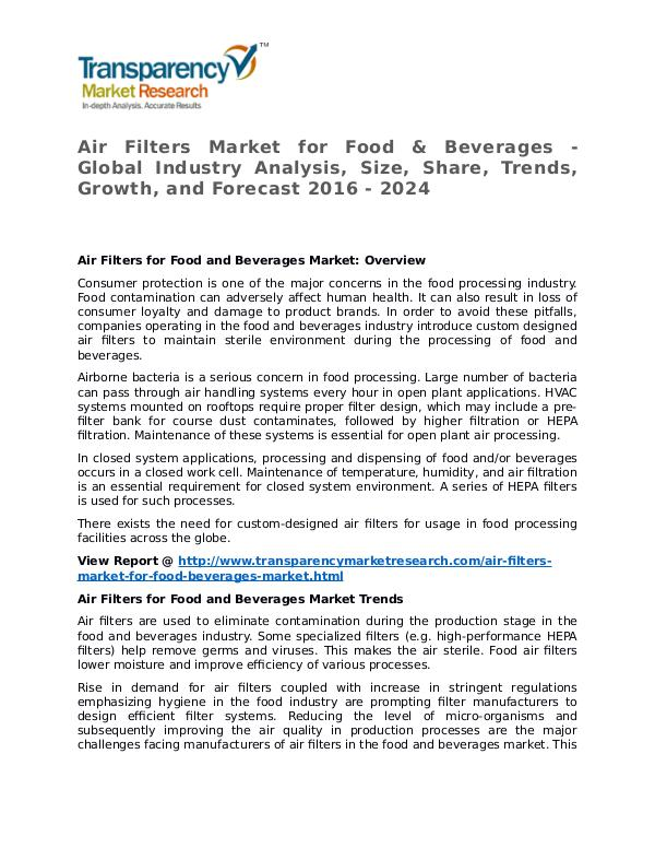 Air Filters Market 2016 Share, Trend, Segmentation and Forecast Air Filters Market for Food & Beverages Market