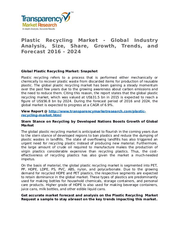 Plastic Recycling Market 2016 Share, Trend, Segmentation and Forecast Plastic Recycling Market