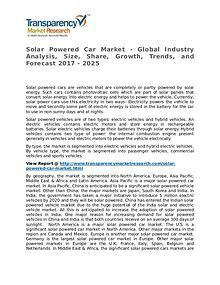 Solar Powered Car Market 2016 Share, Trend, Segmentation and Forecast