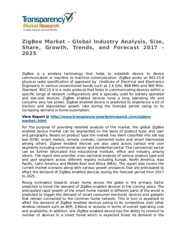 ZigBee Market 2017 Share, Trend, Segmentation and Forecast to 2025 ZigBee Market