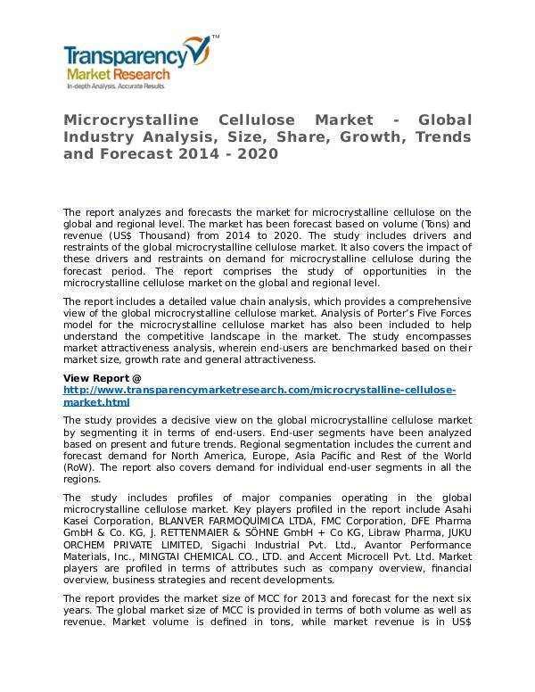 Microcrystalline Cellulose Market 2014 Microcrystalline Cellulose Market - Global Industr