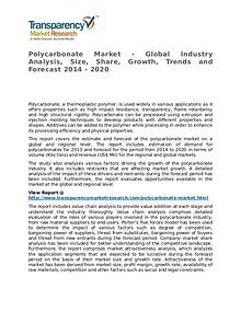 Polycarbonate Market 2014 Share, Trend, Segmentation and Forecast