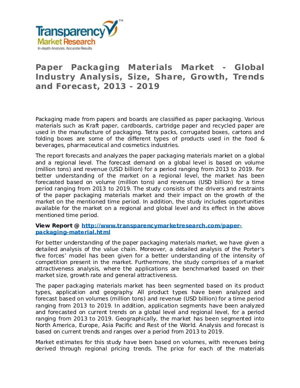 Paper Packaging Materials Market 2013 Share and Forecast Paper Packaging Materials Market - Global Industry