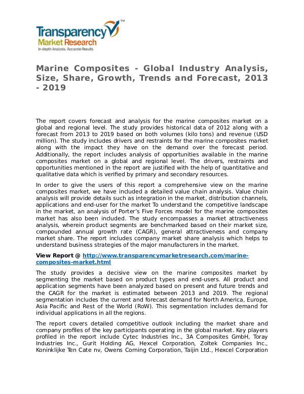 Marine Composites Market 2013 Share, Trend, Segmentation and Forecast Marine Composites - Global Industry Analysis, Size