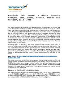 Propionic Acid Market 2013 Share, Trend, Segmentation and Forecast