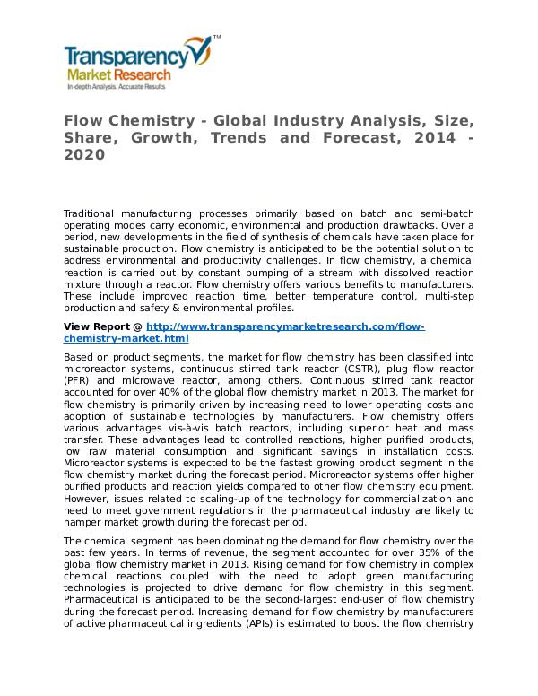 Flow Chemistry Market 2014 Share, Trend, Segmentation and Forecast Flow Chemistry - Global Industry Analysis, Size, S