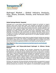 Hydrogel Market 2017 Share, Trend, Segmentation and Forecast to 2025