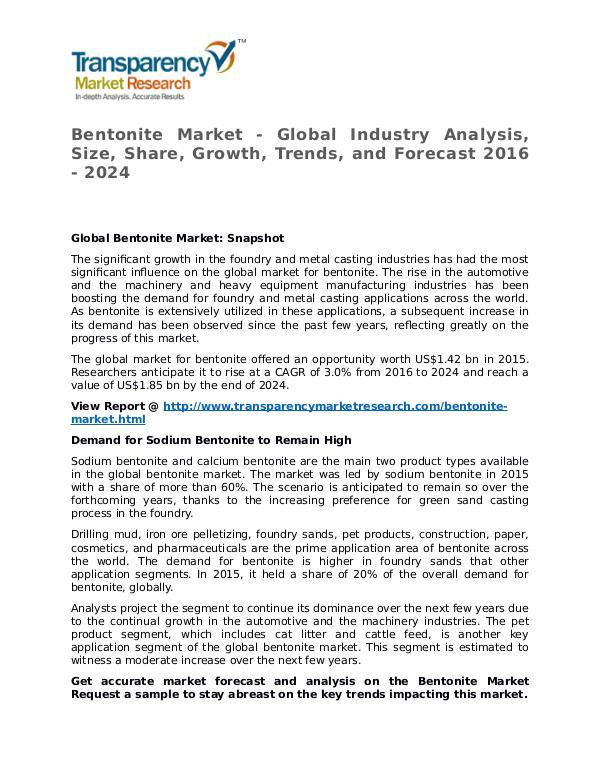 Bentonite Market 2016 Share, Trend, Segmentation and Forecast to 2024 Bentonite Market - Global Industry Analysis, Size,