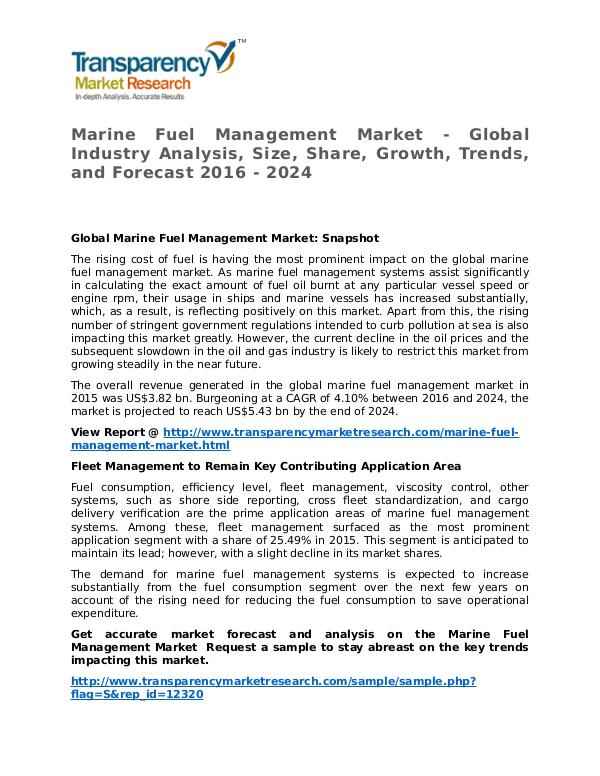 Marine Fuel Management Market 2016 Share, Trend and Forecast Marine Fuel Management Market - Global Industry An