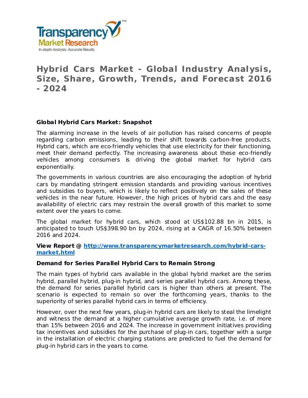 Hybrid Cars Market 2016 Share, Trend, Segmentation and Forecast Hybrid Cars Market - Global Industry Analysis, Siz
