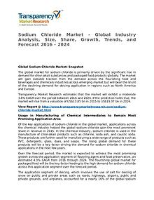 Sodium Chloride Market 2016 Share, Trend, Segmentation and Forecast