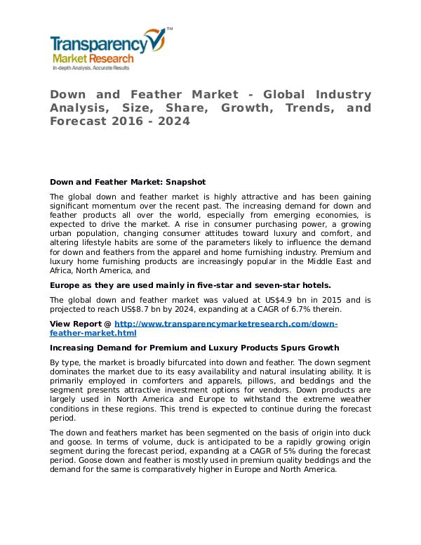Down and Feather Market 2016 Share, Trend, Segmentation and Forecast Down and Feather Market - Global Industry Analysis