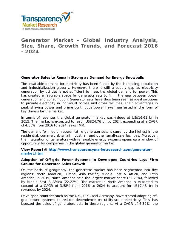 Generator Market SWOT Analysis Of Top Key Player Forecasts To 2024 Generator Market - Global Industry Analysis, Size,