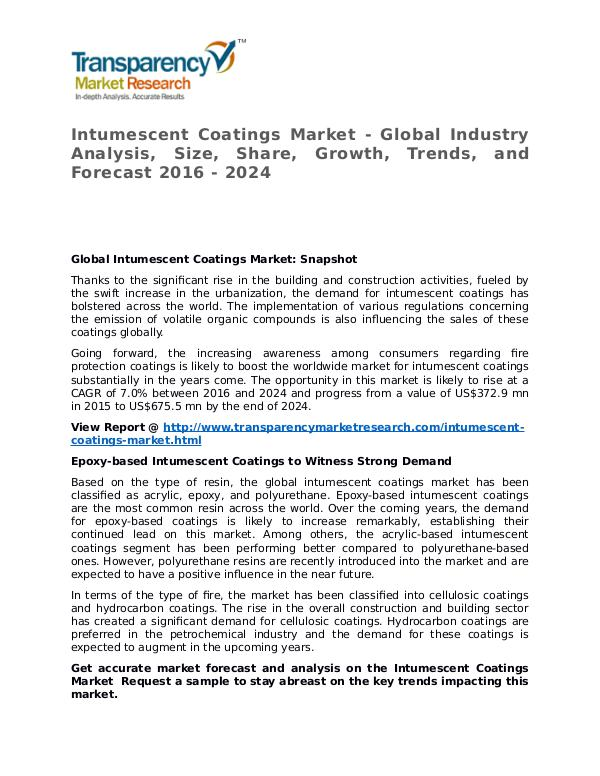 Intumescent Coatings Market 2016 Share, Trend and Forecast Intumescent Coatings Market - Global Industry Anal