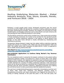 Roofing Underlying Materials Market 2016 Share and Forecast