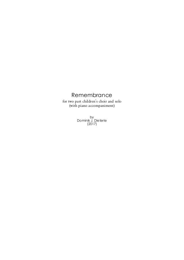 Scores by Dominik J. Dieterle Dominik J. Dieterle - Remembrance