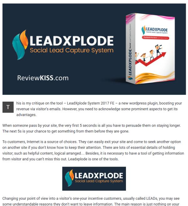 LeadXplode Review from ReviewKISS.com Leadxplode Review from ReviewKISS.com