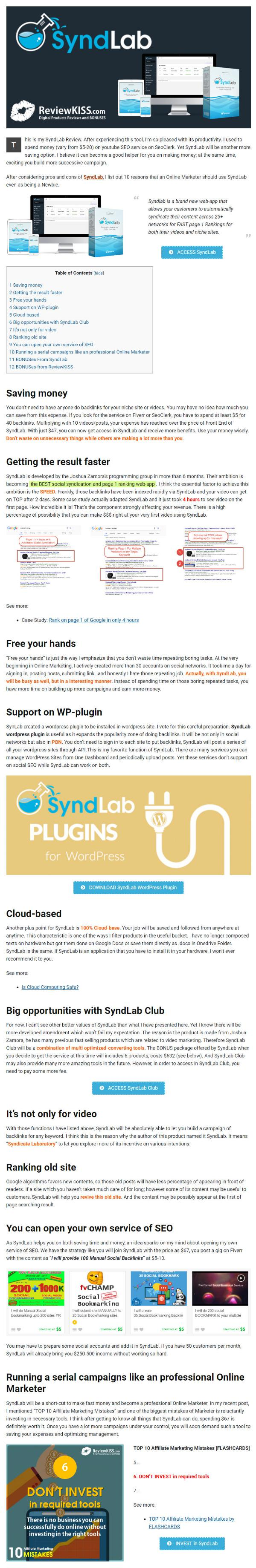 SyndLab Review and 10 Reasons Online Marketer Should Use SyndLab by RevieKISS.com