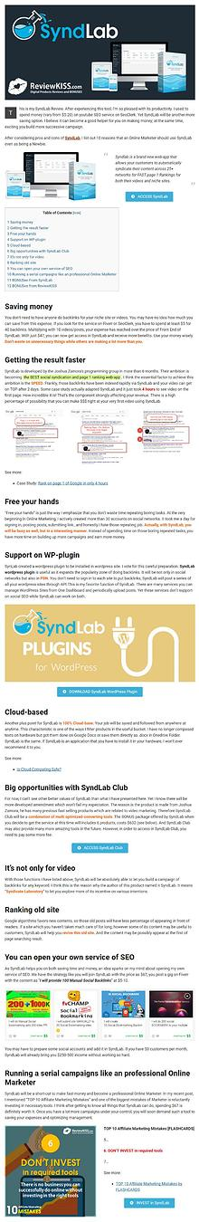 SyndLab Review and 10 Reasons Online Marketer Should Use SyndLab