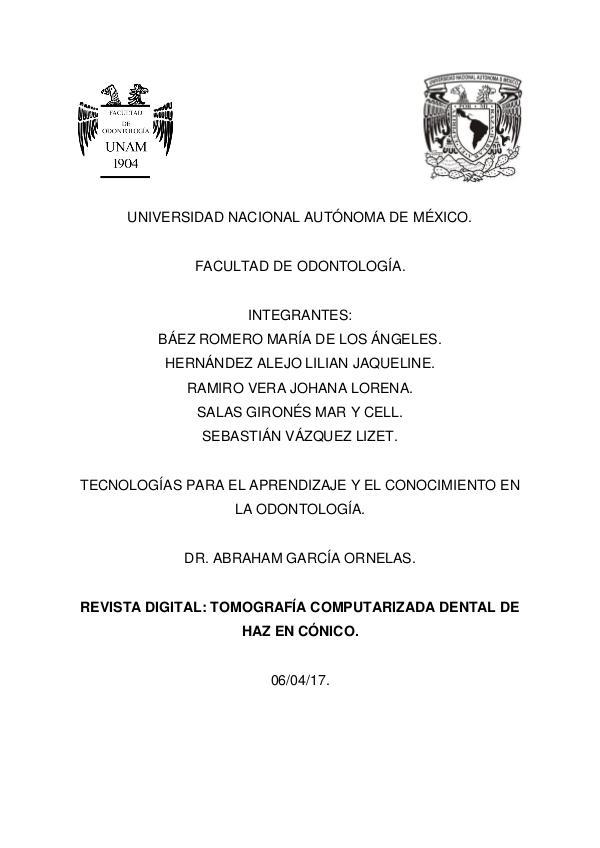 Tomografía Computarizada Dental con Haz en Cónico 1