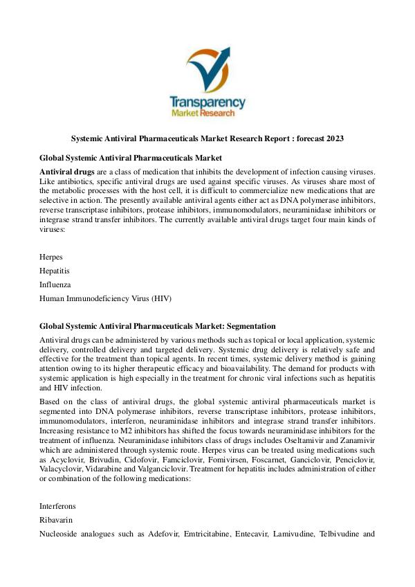 Systemic Antiviral Pharmaceuticals Market Systemic Antiviral Pharmaceuticals Market Research