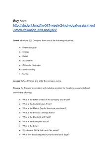 FIN 571 Week 2 Individual Assignment Stock Valuation and Analysis