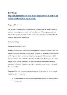 FIN 571 Team Assignment Effect of Debt Issuance on Stock Valuation