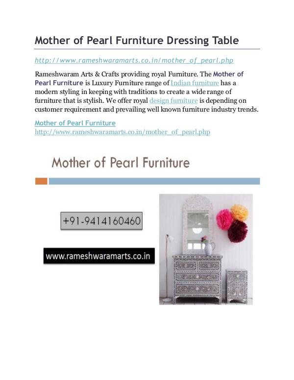 Mother of Pearl Furniture Dressing Table