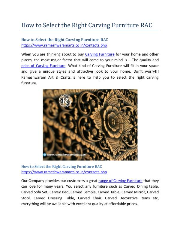 How to Select the Right Carving Furniture RAC How to Select the Right Carving Furniture RAC